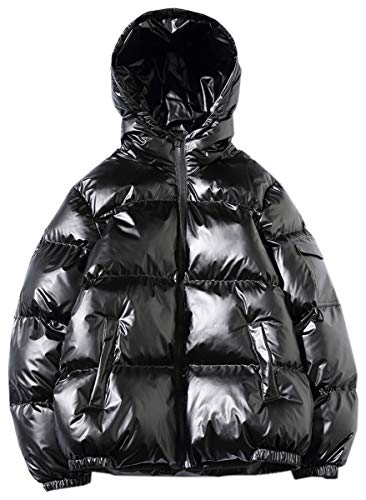 QZH.DUAO Men's Winter Puffer Warm Thicken Padded Quilted Hoodie Shiny Metallic Jacket Coat Outerwear, Black, US Medium/40 = Tag 2XL (Shiny Jacket Padded)