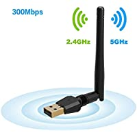300Mbps USB WiFi Adapter, Wireless Lan Network Card Adapter Wifi Dongle for Desktop Laptop PC Windows/MAC/OS