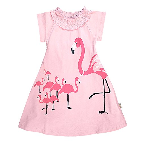 [Wee Urban Girls Fashion, Organic Cotton, Short Sleeve, Pink Flamingo, Sundress, Party Dress, Size 2] (Animal Outfits For Toddlers)