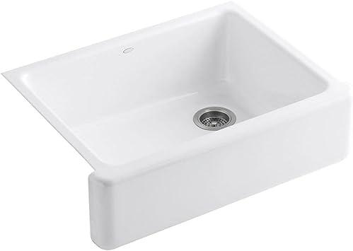 Kohler K 6487 0 Whitehaven Farmhouse Self Trimming 29 11 16 X 21 9 16 X 9 5 8 Apron Front Undermount Single Bowl Kitchen Sink With Tall Apron White Single Bowl Sinks Amazon Com