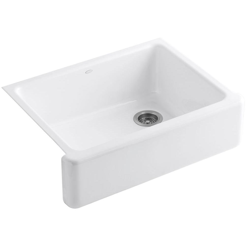 Kohler K-6487-0 Whitehaven Self-Trimming 29-11/16'' x 21-9/16'' x 9-5/8'' Apron Front Under-Mount Single-Bowl Kitchen Sink with Tall Apron, White by Kohler