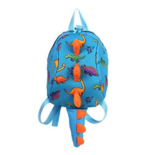 OWMEOT Toddler Kids Backpack Boys Kindergarten School Book Bags, Cute Dinosaur,Toddler Backpack for Girl Boy Kids Plush 3D Animal Cartoon Mini Preschool Bag for Children Age 1-5 Years Old (Blue)