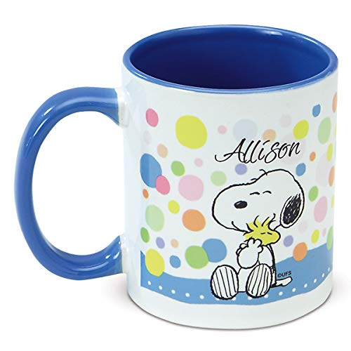 CURRENT Peanuts Personalized Pastel Ceramic Mug - 11 Ounce Coffee Cup