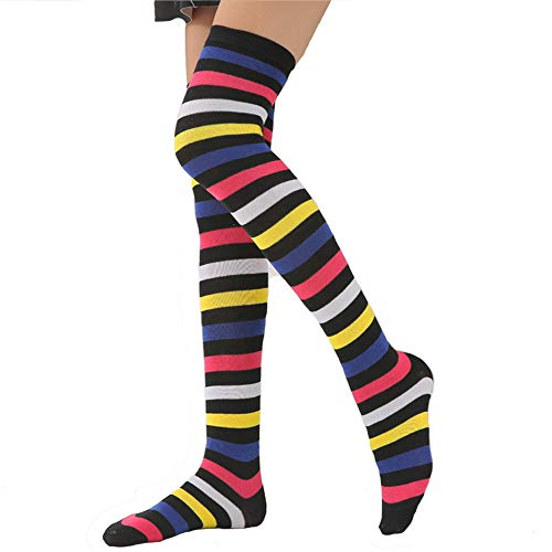 Womens Girls Long Striped Knee High Socks Over Knee Thigh High Crazy Fun Rainbow Cosplay Party Stockings, Dark Rainbow, Medium Ladies' One Size 6-11