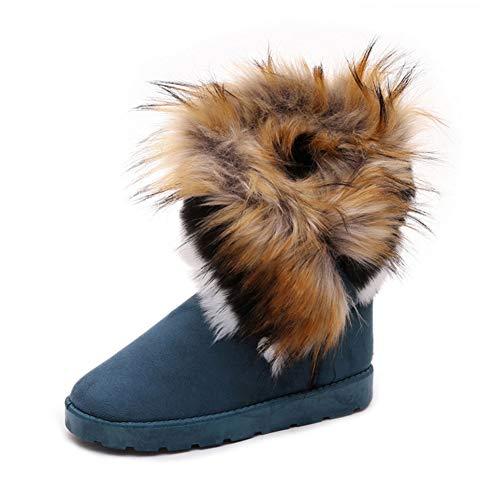 DETAIWIN Womens Winter Mid Calf Boots Warm Faux Fox Slip On Rabbit Fur Tassel Casual Outdoor Snow Boots