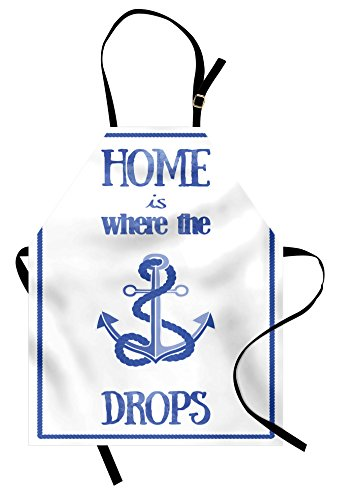 Lunarable Nautical Apron, Home is Where The Anchor Drops Words Nautical Rope Watercolors Frame, Unisex Kitchen Bib Apron with Adjustable Neck for Cooking Baking Gardening, White Blue]()