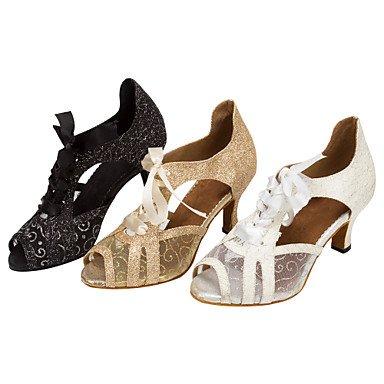 XIAMUO Anpassbare Women's Ballroom Dance Schuhe funkelnden Glitter Latin/Salsa tanzen Lace-up Schuhe, weiß, EU/US7.5 38/UK5.5/CN 38