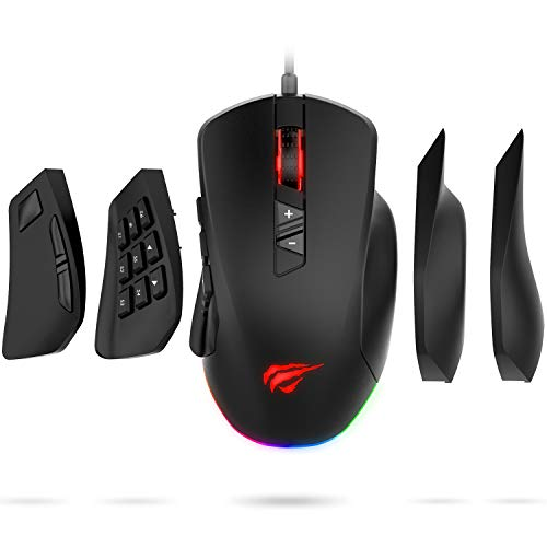 (Havit Gaming Mouse 12000 DPI Computer Ergonomic Wired Mice with 14 Programmable Buttons Interchangeable Side Plates (8 Buttons/ 8+6 Side Buttons Mouses), 2 Replaceable Right Plates for Laptop PC Gamer)
