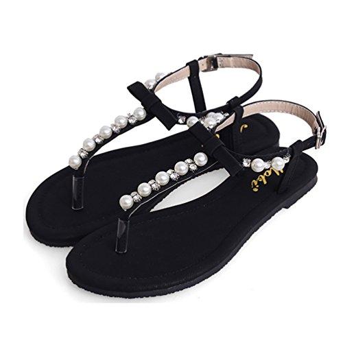NiSeng Mujer Piso Sandalias Bohemia Con Cuentas Peep Toe Sandalias Casual T-Strap Sandalias Negro