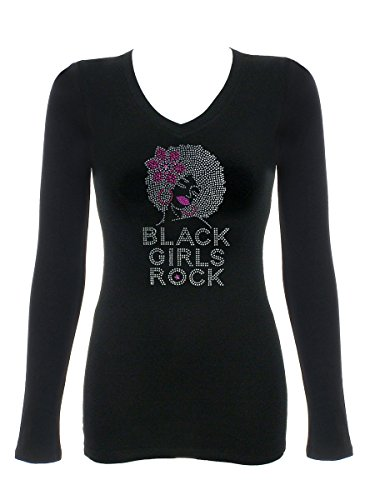 Tee Womens Rhinestone - DivaDesigns Black Girls Rock Dark Pink Flower Rhinestone Bling V-Neck T-Shirt 229 3X