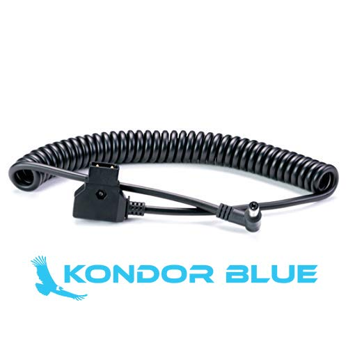 KONDOR BLUE D-Tap to DC 5.5x2.5mm Right Angle Coiled Cable LCD Monitor LED Light DSLR Blackmagic Video Assist Small HD V-Mount Anton Bauer Gold Mount Battery Power Rig aka P-Tap