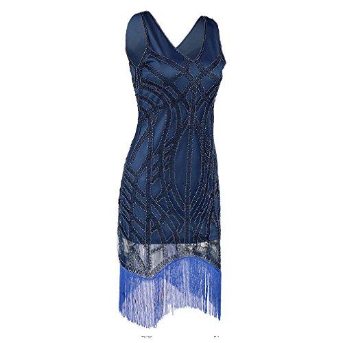 Mujer o Cuello Abalorios Sequin Art Deco Inspirado Gatsby charnela Gran Gatsby Vestido Vestido de Fiesta Blue