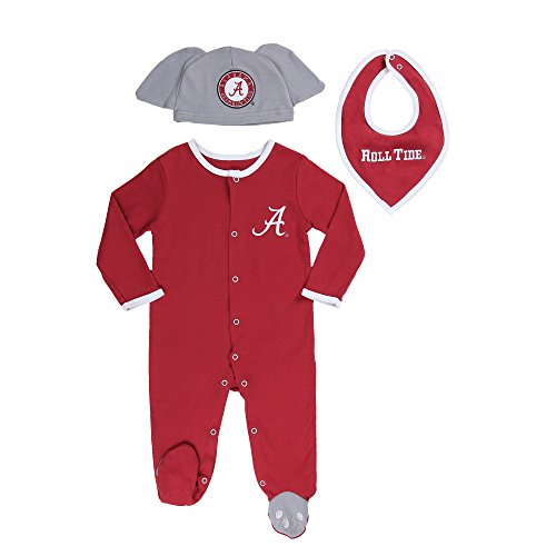Alabama Baby Clothes (Alabama Crimson Tide Baby Boys' 3 pack, Footie, Bandana Bib and Hat Set 3-6 months)