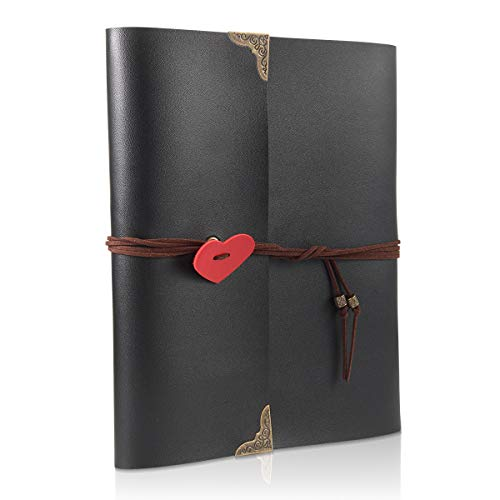 THXMADAM Scrapbook Photo Album Leather Guest Book DIY Wedding Memory Book with 60 Refill Pages Present for Valentines Anniversary Day Birthday Christmas Gift for Wife Mum Dad Daughter Friend (Large)