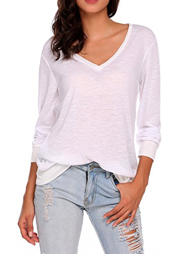 UNibelle Womens Loose Fit Long Sleeves T Shirt V Neck Plain Cotton Casual Tee Tops, White, -