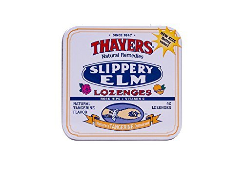 - Thayers Slippery Elm Lozenges, Tangerine, 42 Count by Thayer's