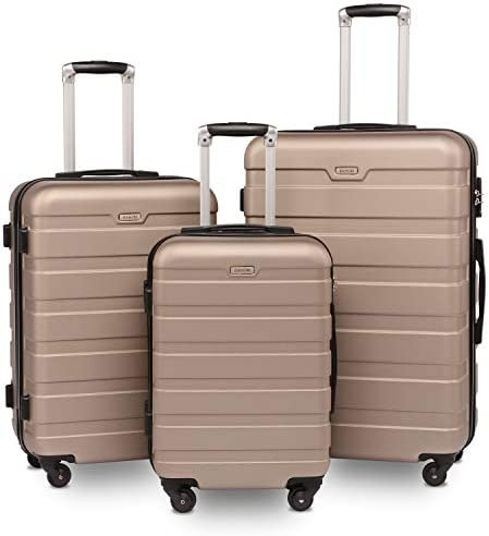 BAHOM 3 Piece Luggage Sets with Spinner Wheels, TSA Lock Suitcase Set of 3 with Hard Shell for Women, Man, Boys and Girls, 20 24 28 inch Champagne