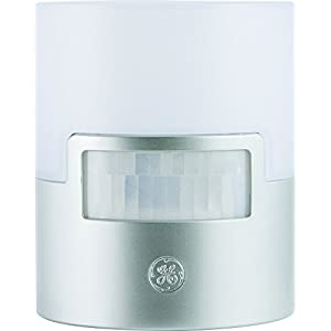 GE Ultra Brite Motion-Activated LED Light, 40 Lumens, Soft White, Night Light, Energy Efficient, Ideal for Hallway, Entry, Stairs, Bathroom, Kitchen, Garage, Utility Room, Silver, 29844