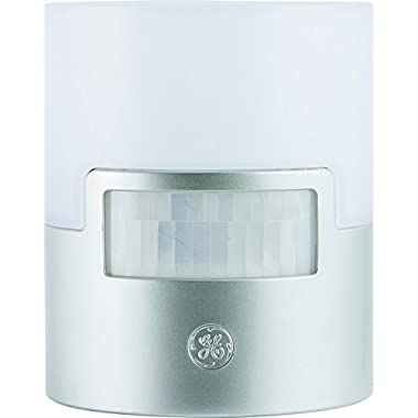 GE Ultra Brite Motion-Activated LED Light, 40 Lumens, Soft White, Night Light, Energy Efficient, Ideal for Hallway, Stairs, Kitchen, Garage, Utility Room, Laundry Room, Silver, 29844