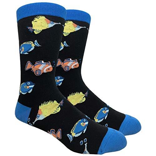 Urban-Peacock Men's Novelty Fun Socks Multiple Themes (Tropical Fish - Black with Blue, 1 Pair) ()