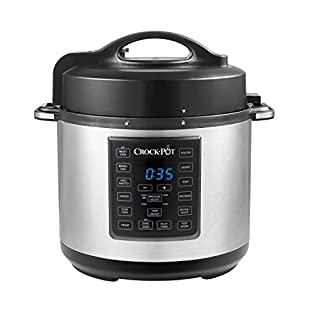 Crock Pot 6 Quart 8 in 1 Multi Use Express Crock Programmable Pressure Cooker, Slow Cooker, Sauté & Steamer | Stainless Steel (SCCPPC600 V1)