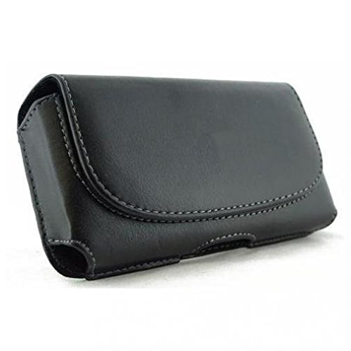 (Black Horizontal Leather Case Cover Protective Pouch Holster Belt Clip w Loops for AT&T Samsung Impression A877)