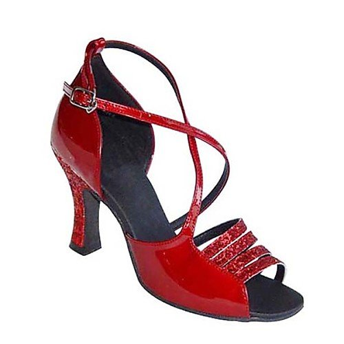 Leatherette T Chunky Heel Satin Dance Red Shoes T Q Samba Women's Red qTwOC6
