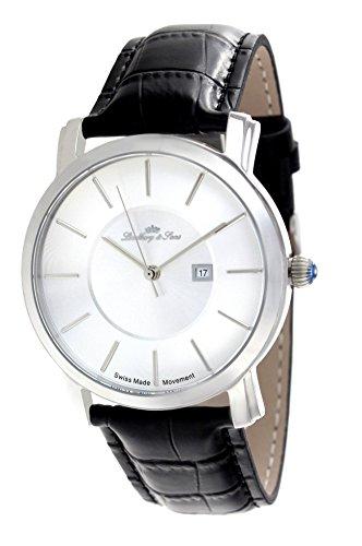Lindberg & Sons Herren-Armbanduhr Quarz Schweizer Werk Analog Leder Schwarz - LSSM80