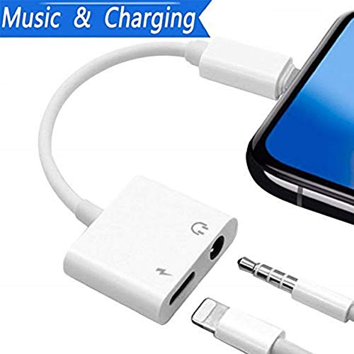 Splitter Ipod Earphone (Splitter Adapter usable for iPhone Headphone Audio Jack Adaptor for iPhone 7/8/X/7 Plus/8 Plus Phone Split Charger and Headphone Audio&Charge Ports for 2-in-1 Earphone Adapter-White)