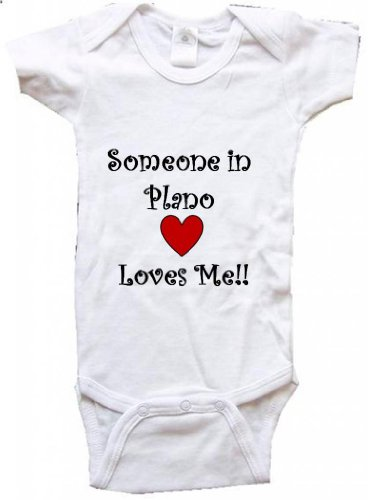 SOMEONE IN PLANO LOVES ME - PLANO BABY - City-series - White Baby One Piece Bodysuit - size Medium (12-18M)