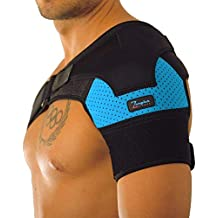 Shoulder Support Brace - Adjustable Sleeve, With Compression Pad & E-Book by Zeegler Orthosis - Therapy for Pain Relief and Injuries like Dislocated AC Joint, Bursitis, Rotator Cuff, Labrum Tear