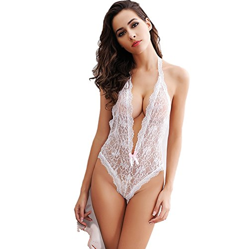 OIZEN Women Sexy Plunging V Halter Lace Lingerie Bodysuit With Mysterious Eyes Cover (White(without eye mask))
