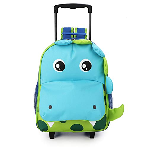 Yodo 3-Way Toddler Backpack with Wheels Little Kids Rolling Suitcase Luggage, Dinosaur