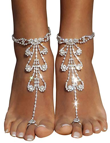 Bellady Ladies 2 PC Sparking Foot Anklet Chain with Rhinestone Bride Bridesmaid Beach Wedding Foot Jewelry for Woman Toe Ring Bracelet, Silver Style 2 by Bellady