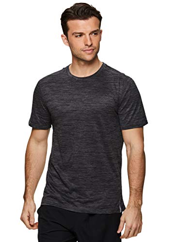 RBX Active Men's Short Sleeve Crew Neck Performance Gym T-Shirt Multi Black S (Leather Neck S Tee)