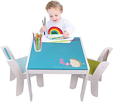 Labebe Wooden Activity Table Chair Set Blue Hedgehog Toddler Table For 1 5 Years Baby Table Toy Table Baby Room Table Learning Table Cover Kid Bedroom Furniture Child Furniture Set Kid Desk Chair Amazon Sg Home