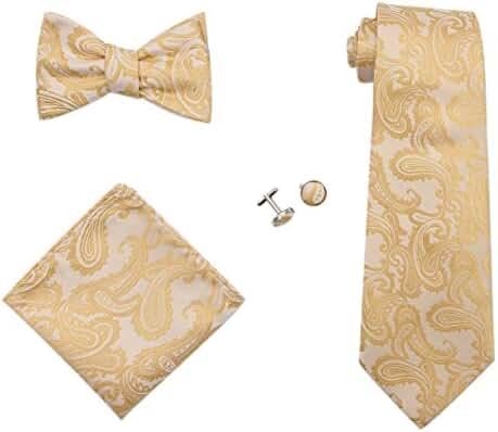JAIFEI Gentleman's Gift Set – Paisley Woven Necktie, Pocket Square, Bowtie & Cufflinks