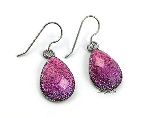 Teardrop Glitter Ombre Drop Dangle Earrings Titanium or Stainless Steel Sensitive Ears Nickle Free (Pink Magenta) ()