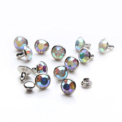 100 Sets Cz Colorful Crystal Rapid Rivets Silver Color Spots Studs Double Cap for DIY Leather-Craft (AB Crystal, 8MM)