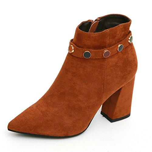 KPHY con puntiagudas Boots cremallera Boots elegantes Fashion sencillo Chelsea lateral áspero Brown Delgadas con Perlas Suede Caramel Botas Martin Botas BIIrzx