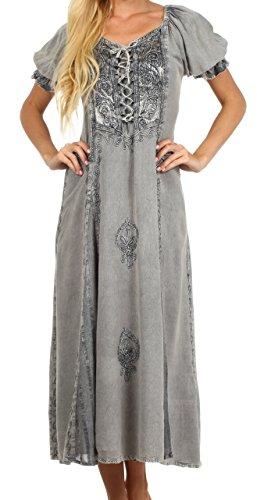 Renaissance Fancy Dress (Sakkas 2100 - Sakkas Bridget Embroidered Renaissance Dress - Grey - S/M)