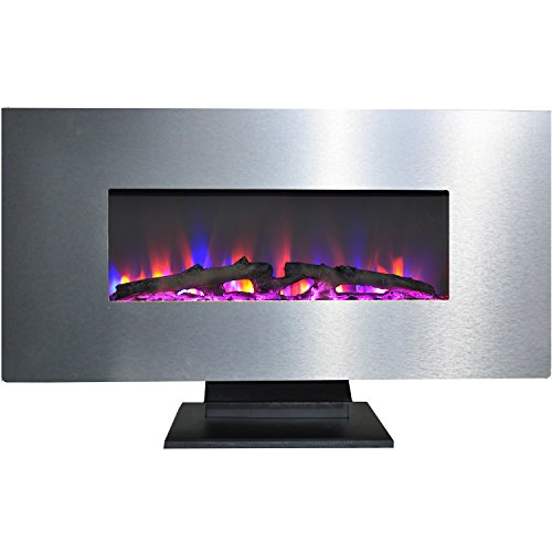 Cambridge CAM42WMEF-2SS 42 In. Metallic Electric Fireplace in Stainless Steel with Multi-Color Log Display