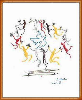ポスター パブロ ピカソ Dance of Youth 額装品 ウッドベーシックフレーム(オレンジ) B0031N0DWI オレンジ オレンジ