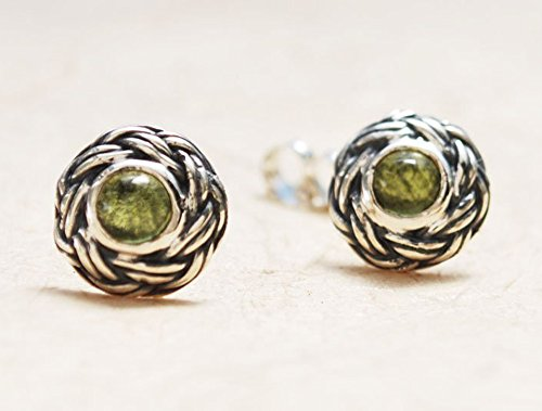 Green Stud Earrings, Sterling Silver Stud Earrings, Peridot Stud Earrings, Large Stud Earrings, Round Stud Earrings