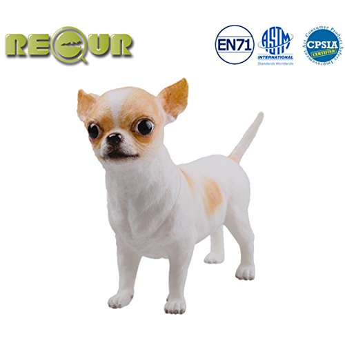 RECUR Toys Chihuahua Figure Toys, Soft Hand-Painted Skin Texture Pet Dog Toys for Kids & Dog Lovers - 1:2 Scale Realistic Design Replica 5.12inch , Ideal Doll Gift for Collectors, - Brown Chihuahua