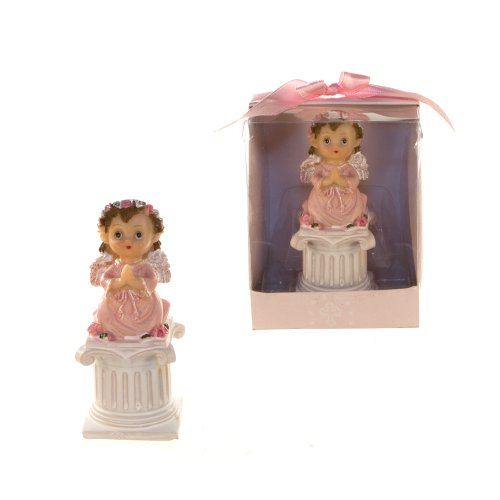 Lunaura Religious Keepsake - Set of 12 Girl Toddler in Religious Robe Favors, Praying On Column - Pink