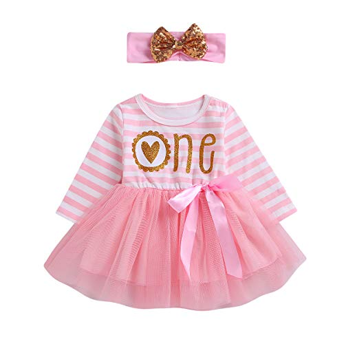 (2Pcs Baby Girls Tutu Dress 1st Birthday Long Sleeve Stripe Donut Romper Top Lace Skirt with Headband Outfit Clothes (Pink & Love, 12-18)
