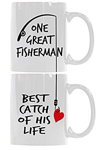 Customize Store Couples Funny Ceramic Coffee Mug Tea Cup Set - One Great Fisherman, Best Catch of His Life - 11 Oz, White