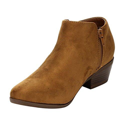 Bella Marie AE47 Damen Seitliche Reißverschluss Stacked Block Heel Ankle Booties Bräunen