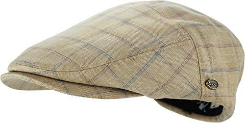 Men's Thick Cotton Summer Newsboy Cap SnapBrim Ivy Driving Stylish Hat (Khaki Check-4023, S/M) -